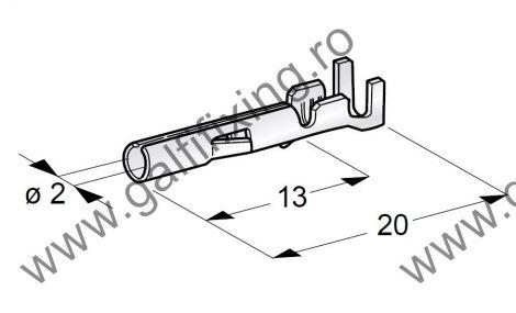 Hengeres csatlakozó hüvely rögzítő nyelvvel, 2,0 mm, 10 db/csomag