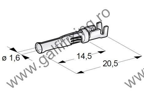Hengeres csattlakozó hüvely rögzitő nyelvvel, 1,6 mm, 10 db/csomag