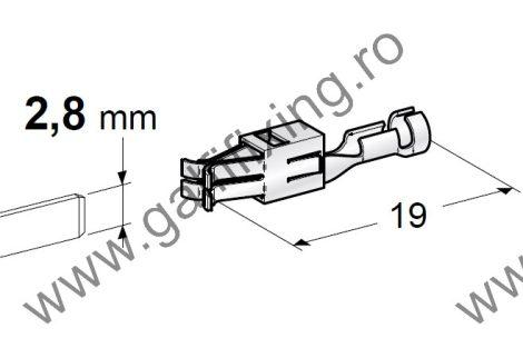 Csúszóérintkező hüvely rögzítőnyelvvel, 2,8 mm, 10 db/csomag