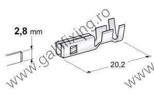 Csúszóérintkező hüvely, 2,8 mm, 10 db/ csomag