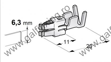 Csúszóérintkező hüvely rögzítőnyelvvel,6,3 mm, 10 db/ csomag