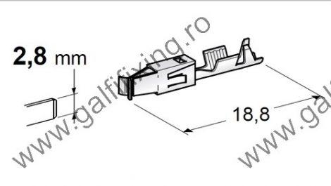 Csúszóérintkező hüvely rögzítőnyelvvel, 2,8 mm, 10 db/ csomag