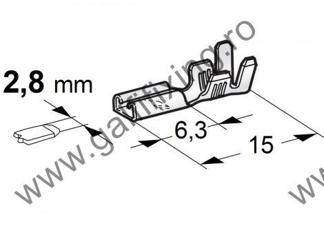 Csúszóérintkező hüvely, 2,8 mm, 25 db/csomag