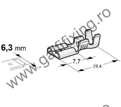 Csúszóérintkező hüvely, 6.3 mm, 100 db/csomag