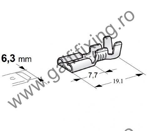 Csúszóérintkező hüvely rögzítőnyelvvel, 6,3 mm, 100 db/csomag
