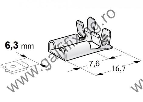 90 fokos csúszóérintkező hüvely, 6,3 mm, 25 db/csomag