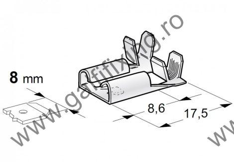 90 fokos csúszóérintkező hüvely rögzítőnyelvvel, 8,0 mm, 25 db/csomag