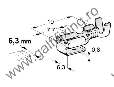 Csúszóérintkező hüvely elágazóval, 6,3 mm, 25 db/csomag