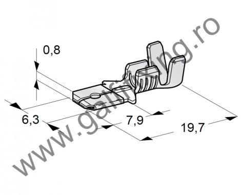 Csúszóérintkező dugó, 6,3 mm, 100 db/csomag