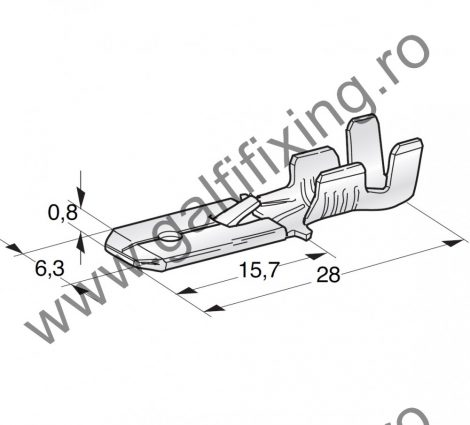 Csúszóérintkező dugó rögzítőnyelvvel, 6,3 mm, 50 db/csomag