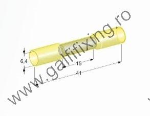 Hengeres szigetelt csatlakozó hüvely, 6,4 mm, 25 db/csomag