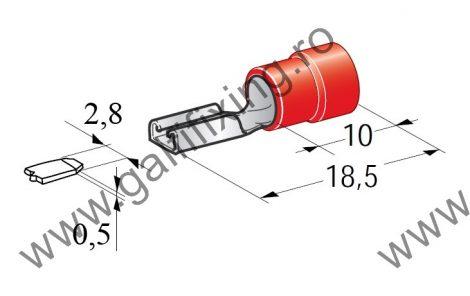 Félig szigetelt csúszóérintkező hüvely, 2,8 mm, 25 db/csomag