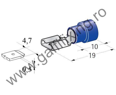 Félig szigetelt csúszóérintkező hüvely, 4,7 mm, 25 db/csomag