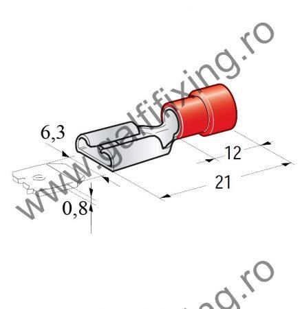 Félig szigetelt csúszóérintkező hüvely,6,3 mm, 25 db/csomag