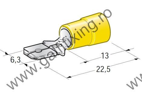 Félig szigetelt csúszóérintkező dugó, 6,3 mm, 25 db/csomag