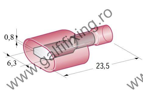 Szigetelt csúszóérintkező dugó, 6,3 mm, 25 db/csomag
