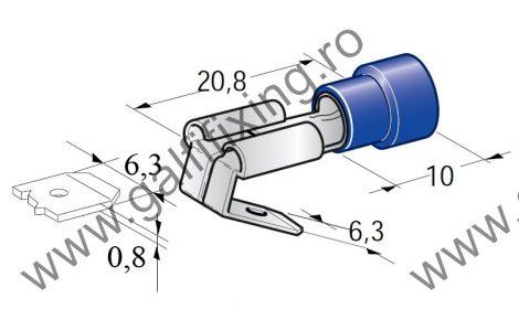 Félig szigetelt csúszóérintkező hüvely elágazóval, 6,3 mm, 25 db/csomag