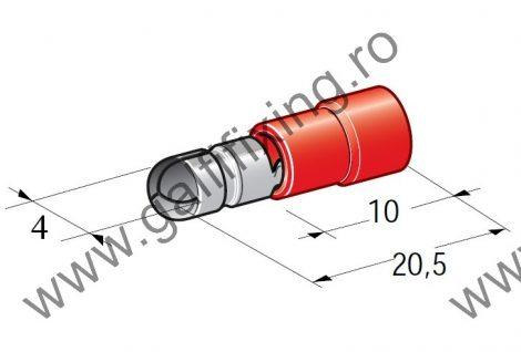 Hengeres szigetelt csatlakozó dugó 4,0 mm, 25 db/csomag