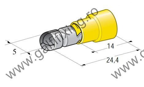 Hengeres szigetelt csatlakozó dugó, 5,0 mm, 25 db/csomag