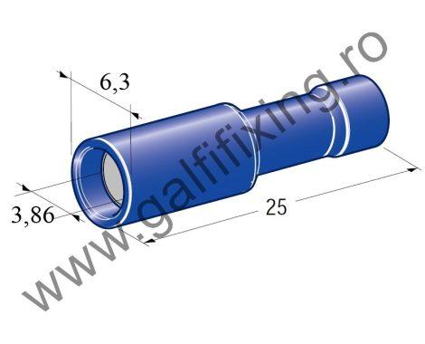 Hengeres szigetelt csatlakozó hüvely, 4,0 mm, 25 db/csomag