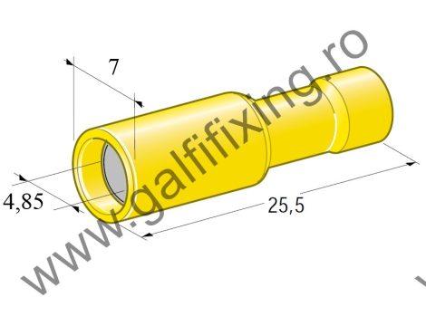 Hengeres szigetelt csatlakozó hüvely, 5,0 mm, 25 db/csomag