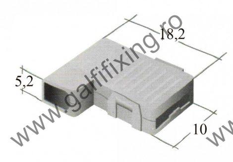 Műanyag szigetelő 6,3 mm-s  90 fokos csúszóérintkező hüvelyhez (160159)