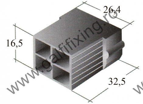 Műanyag csatlakozóház IV. 6,3 mm-s csúszóérintkező hüvelyhez (160158)
