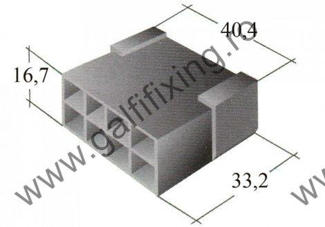 Műanyag csatlakozóház VIII. 6,3 mm-s csúszóérintkező dugóhoz (160166)