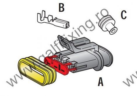Vízálló csatlakozó készlet, 3 pólusú (apa), 1,0-1,5 mm2, 1 db/csomag