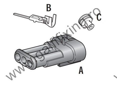 Vízálló csatlakozó készlet, 3 pólusú (anya), 1,0-1,5 mm2,  1 db/csomag