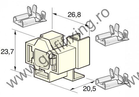H4-es izzófoglalat csatlakozóház három 8mm , 90fok csúszóérintkező hüvellyel, 1db / csomag