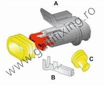 Vízálló Csatlakozó készlet, 2 pólusú (apa) 1,0-1,5 mm2, 1 db/csomag