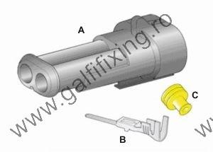 Vízálló csatlakozó készlet , 2 pólusú (anya) , 1.0 - 1.5 mm2 , 1db / csomag