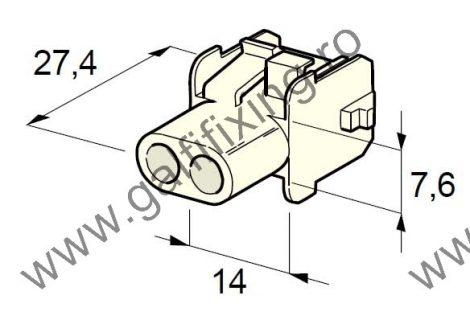 Műanyag csatlakozóház II., 2mm-s hengeres dugóhoz (160000), 2 db/csomag