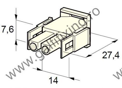 Műanyag csatlakozóház II., 2mm-s hengeres hüvelyhez (160001), 2 db/csomag
