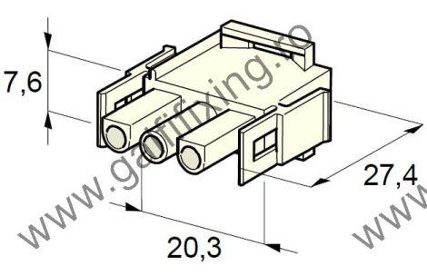 Műanyag csatlakozóház III., 2mm-s hengeres hüvelyhez (160001), 2 db/csomag