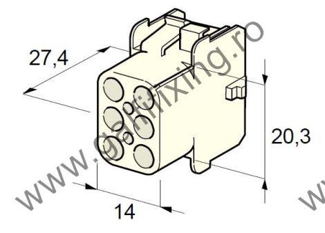 Műanyag csatlakozóház VI., 2mm-s hengeres dugóhoz (160000), 2 db/csomag