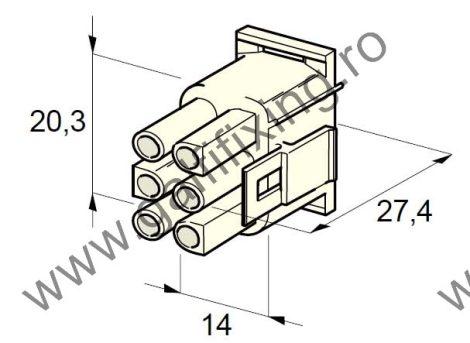 Műanyag csatlakozóház VI., 2mm-s hengeres hüvelyhez (160001), 2 db/csomag