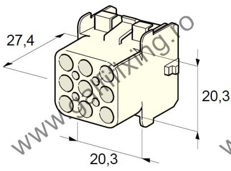 Műanyag csatlakozóház XI., 2mm-s hengeres dugóhoz (160000), 2 db/csomag
