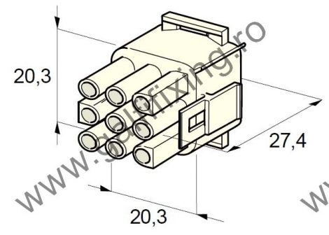 Műanyag csatlakozóház XI., 2mm-s hengeres hüvelyhez (160001), 2 db/csomag