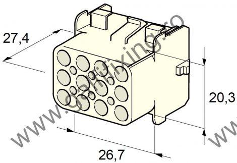 Műanyag csatlakozóház XII., 2mm-s hengeres dugóhoz (160000), 2 db/csomag