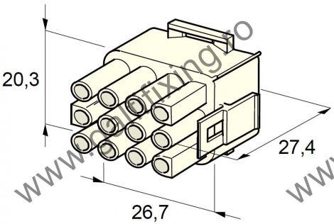 Műanyag csatlakozóház XII., 2mm-s hengeres hüvelyhez (160001), 2 db/csomag