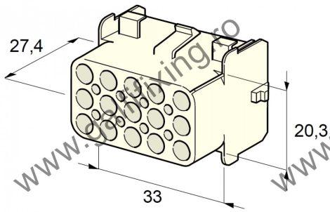 Műanyag csatlakozóház XV., 2mm-s hengeres dugóhoz (160000), 2 db/csomag