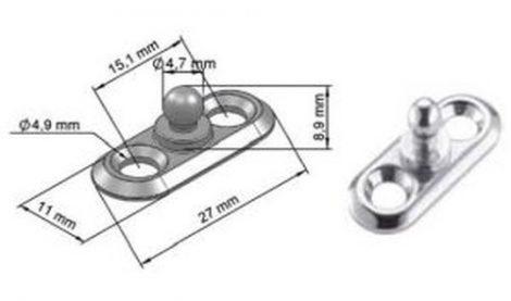 Ponyva rögzítő elem 11x27x4,8x7,3 nikkelezett, 5 db/csomag Suzuki