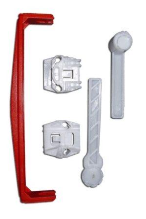 Első ajtóüveg rögzítő patent készlet jobbos+balos 5db/cs fehér-piros Volkswagen Seat Audi Skoda