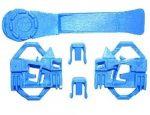 Ajtóüveg rögzítő patent készlet első-hátsó balos 5db/cs kék Volkswagen Seat Audi Skoda