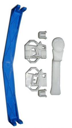 Első ajtóüveg rögzítő patent készlet jobbos 6db/cs fehér-kék Volkswagen Seat Audi Skoda