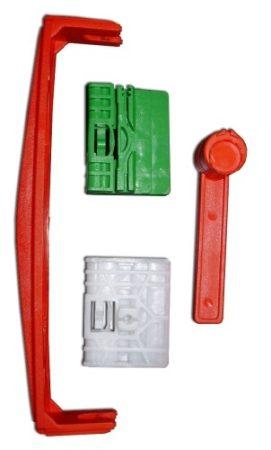 Első ajtóüveg rögzítő patent készlet balos+jobbos 4db/cs fehér-zöld-piros Volkswagen Seat Audi Skoda
